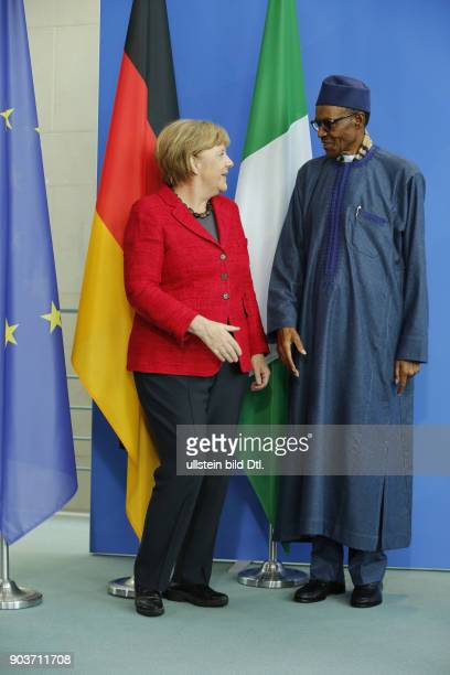 During the joint press conference by Chancellor Angela Merkel and the state president from Nigeria Muhammadu Buhari on 14 October 2016 in Berlin he...