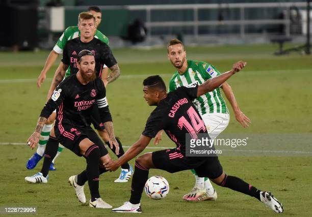 during the La Liga match between Real Betis and Real Madrid played at Benito Villamarin Stadium on September 26 2020 in Sevilla Spain Casemiro Sergio...