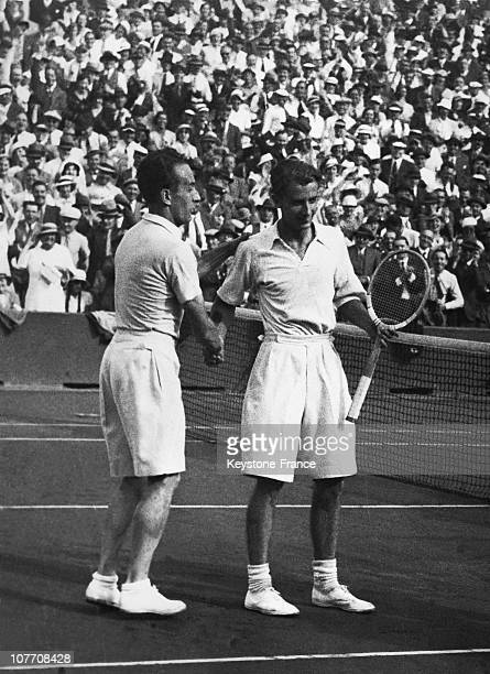 During The Last Day Of The Davis Cup Final Between France And Great BritainHenri Cochet After His Victory Shakes Hand Of Bunny Austin On July 30Th...