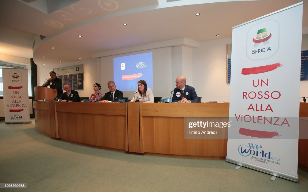 Lega Serie A 'Un Rosso Alla Violenza' Press Conference : News Photo