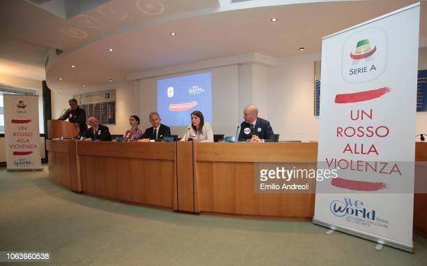 during the Lega Serie A 'Un Rosso Alla Violenza' press conference on November 20 2018 in Milan Italy