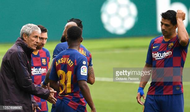 during the Liga match between RC Celta de Vigo and FC Barcelona at AbancaBalaídos on June 27 2020 in Vigo Spain