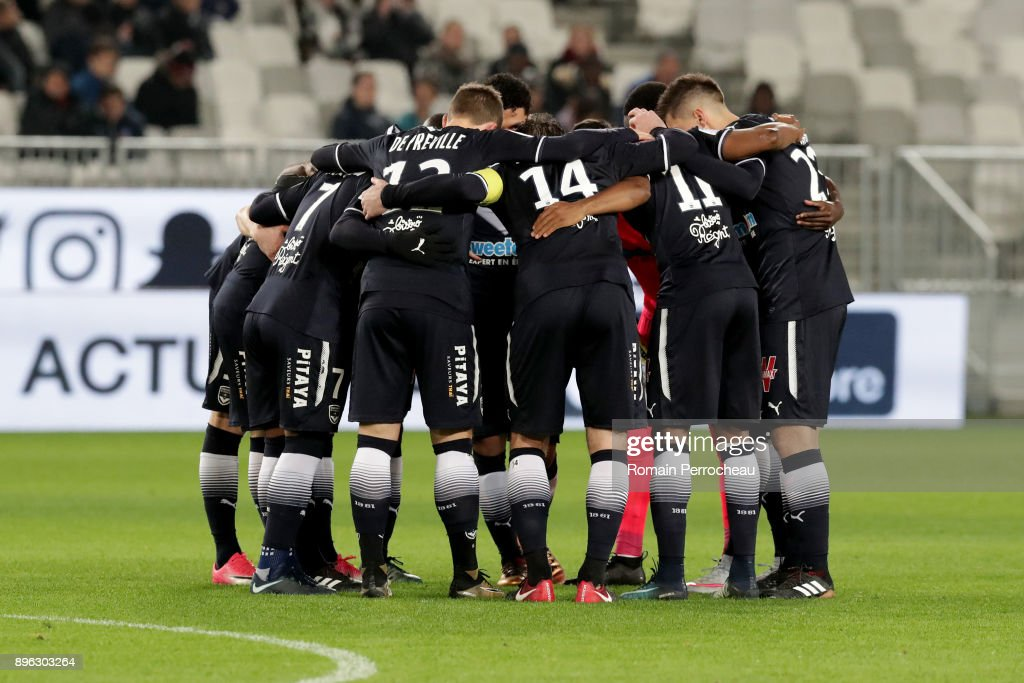 during the Ligue 1 match between FC Girondins de Bordeaux and Montpellier Herault SC at Stade Matmut Atlantique on December 21, 2017 in Bordeaux, .
