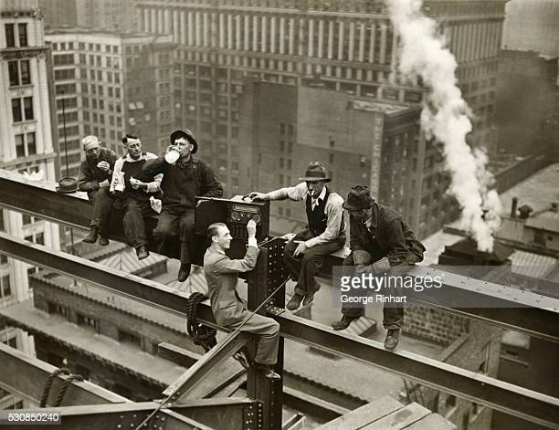 During the lunch hour today on top of the twentyfourth story of the Palmer House in Chicago the structural iron workers had the pleasure of enjoying...