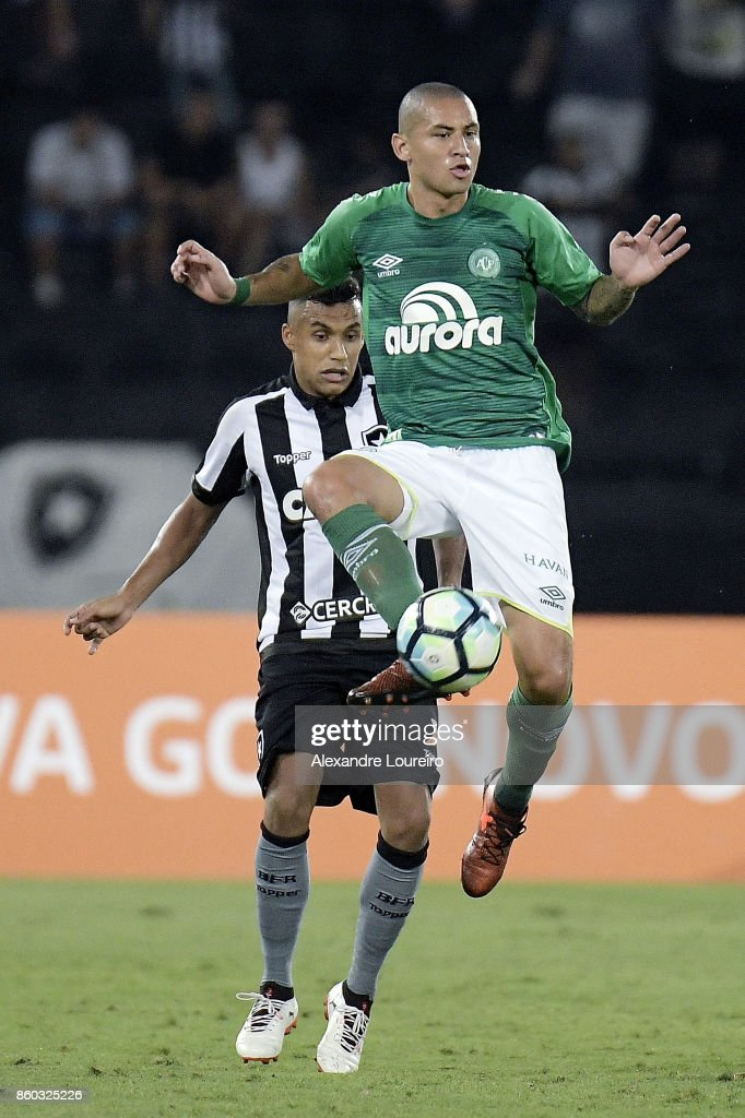 during the match between Botafogo and Chapecoense as part of Brasileirao Series A 2017 at Engenhao Stadium on October 11, 2017 in Rio de Janeiro, Brazil.