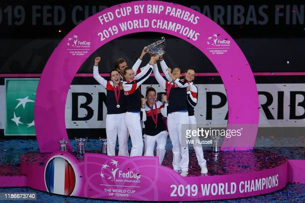 during the match between XXXX of XXXX and XXXX of XXXX in the 2019 Fed Cup Final tie between Australia and France at RAC Arena on November 10 2019 in...