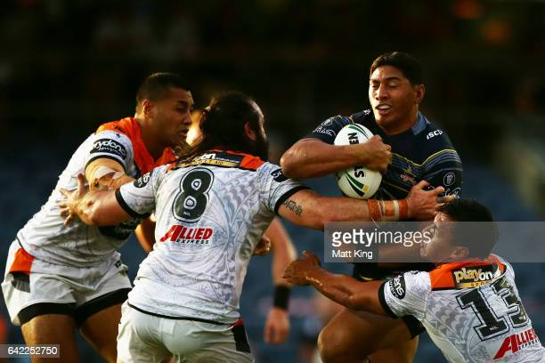 during the NRL Trial match between the Wests Tigers and the North Queensland Cowboys at Campbelltown Stadium on February 17 2017 in Sydney Australia