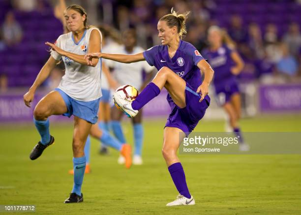 during the NWSL soccer match between the Orlando Pride and New Jersey Sky Blue FC on August 5th 2018 at Orlando City Stadium in Orlando FL