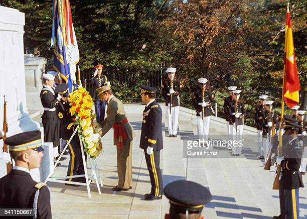 During the official visit of the Spanish Kings Juan Carlos of Borbon and Sofia of Greece in the United States, the King lays a wreath at the Tomb of...