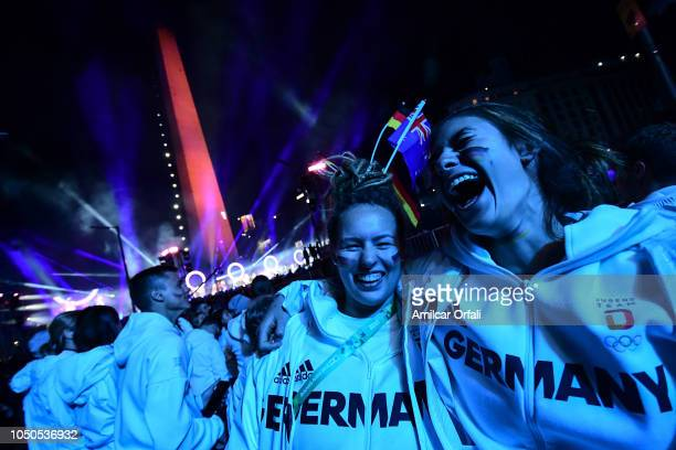 during the opening ceremony of the Buenos Aires 2018 Youth Olympic Games at Obelisco monument on October 06 2018 in Buenos Aires Argentina