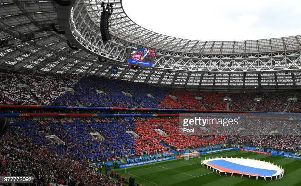 During the opening ceremony prior to the 2018 FIFA World Cup Russia Group A match between Russia and Saudi Arabia at Luzhniki Stadium on June 14 2018...
