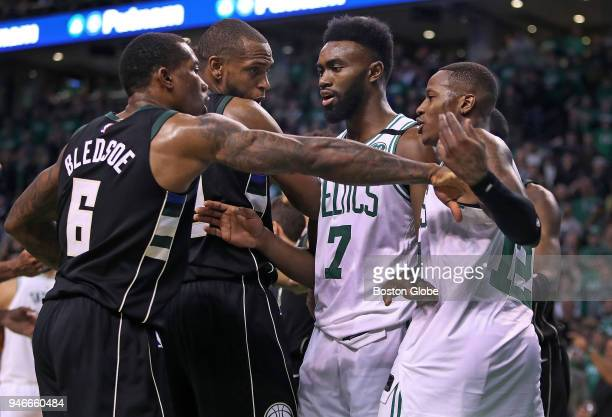 During the overtime period, a few words and a little shoving happened between the Milwaukee Bucks Eric Bledsoe and Khris Middleton and the Boston...