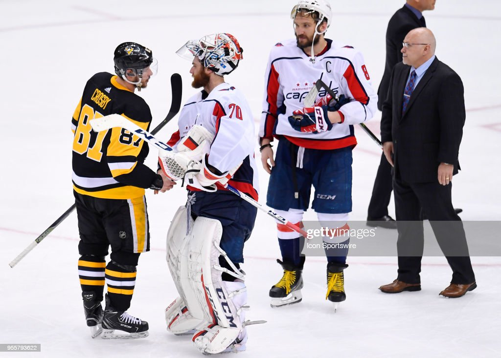 during the overtime period. The Washington Capitals went on win 2-1 in the overtime period against the Pittsburgh Penguins in Game Six of the Eastern Conference Second Round during the 2018 NHL Stanley Cup Playoffs on May 7, 2018, at PPG Paints Arena in Pittsburgh, PA. The Capitals won the series 4-2 and advance to the Conference Finals.