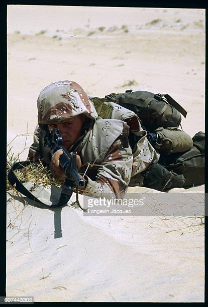 During the Persian Gulf War soldiers from the 7th Marine Expeditionary Brigade prepare for possible conflict by conducting military exercises in the...