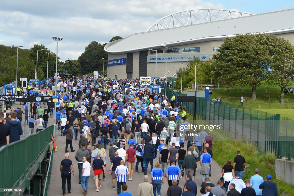 during the Premier League match between Brighton and Hove Albion and Manchester City at Amex Stadium on August 12, 2017 in Brighton, England.