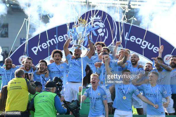 During the Premier League match between Brighton & Hove Albion and Manchester City at American Express Community Stadium on May 12, 2019 in Brighton,...