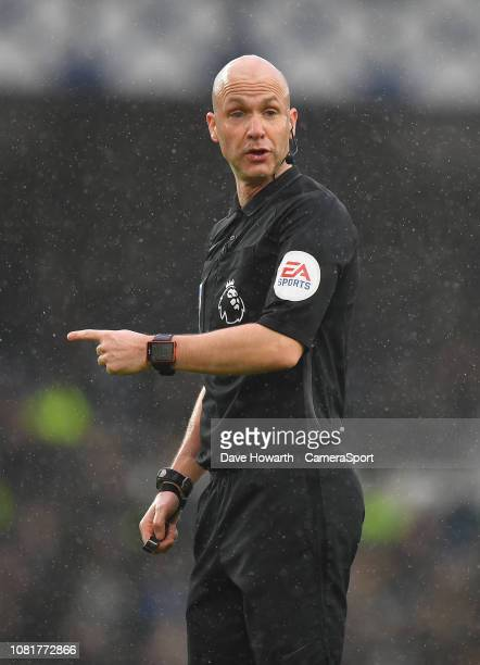 Referee Anthony Taylor LIVERPOOL ENGLAND JANUARY 13 during the Premier League match between Everton FC and AFC Bournemouth at Goodison Park on...