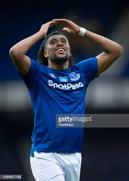 during the Premier League match between Everton FC and Leicester City at Goodison Park on July 1 2020 in Liverpool United Kingdom