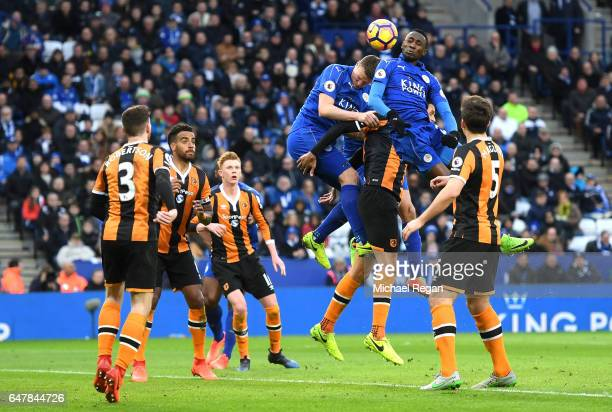 during the Premier League match between Leicester City and Hull City at The King Power Stadium on March 4 2017 in Leicester England