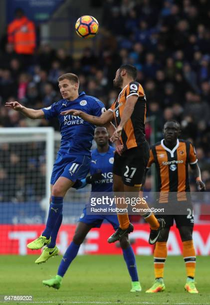 Leicester City's Marc Albrighton and Hull City's Ahmed Elmohamady LEICESTER ENGLAND MARCH 04 during the Premier League match between Leicester City...