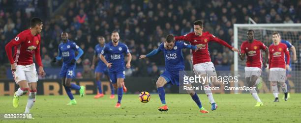 Leicester City's Jamie Vardy and Manchester United's Ander Herrera LEICESTER ENGLAND FEBRUARY 05 during the Premier League match between Leicester...