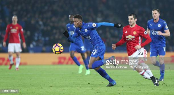 Leicester City's Demarai Gray and Manchester United's Henrikh Mkhitaryan LEICESTER ENGLAND FEBRUARY 05 during the Premier League match between...
