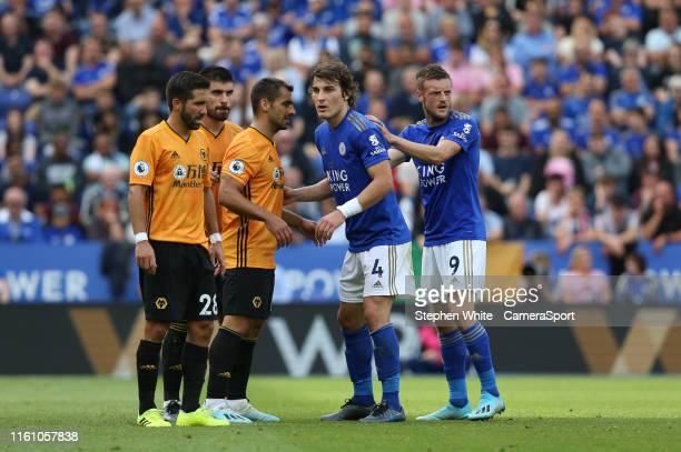 During the Premier League match between Leicester City and Wolverhampton Wanderers at The King Power Stadium on August 11, 2019 in Leicester, United...