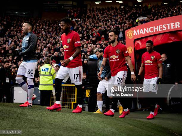 during the Premier League match between Manchester United and Manchester City at Old Trafford on March 08 2020 in Manchester United Kingdom