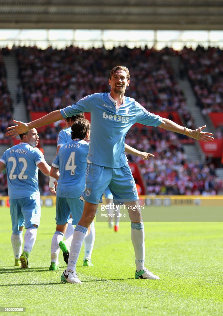 during the Premier League match between Southampton and Stoke City at St Mary's Stadium on May 21, 2017 in Southampton, England.