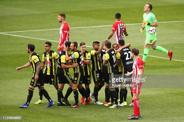 during the round 16 ALeague match between the Wellington Phoenix and Melbourne City FC at Westpac Stadium on January 26 2019 in Wellington New Zealand