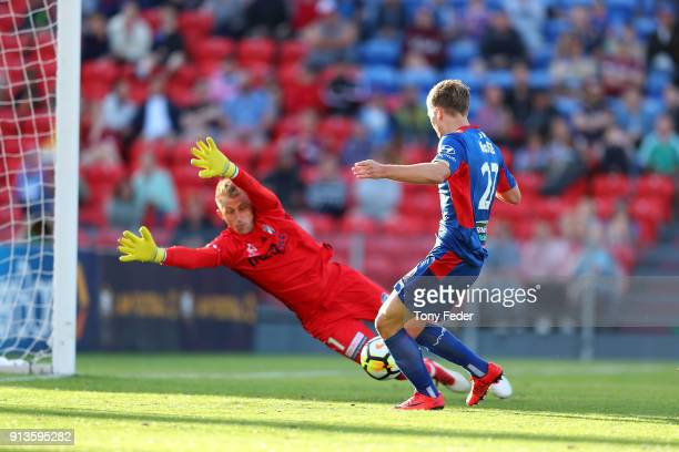 During the round 19 A-League match between the Newcastle Jets and the Melbourne Victory at McDonald Jones Stadium on February 3, 2018 in Newcastle,...