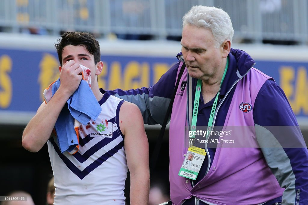 during the round 20 AFL match between the West Coast Eagles and the Fremantle Dockers at Optus Stadium on August 5, 2018 in Perth, Australia.