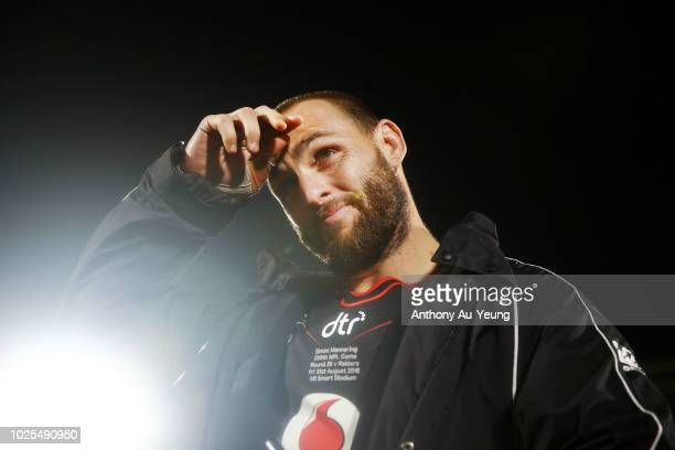 during the round 25 NRL match between the New Zealand Warriors and the Canberra Raiders at Mt Smart Stadium on August 31 2018 in Auckland New Zealand