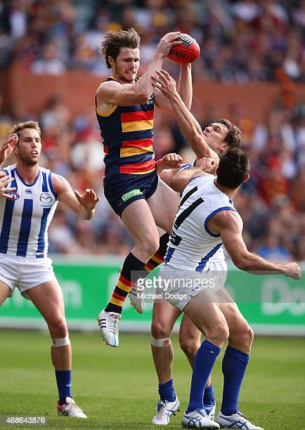 during the round one AFL match between the Adelaide Crows and the North Melbourne Kangaroos at Adelaide Oval on April 5 2015 in Adelaide Australia