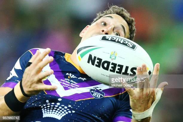 during the round two NRL match between the Melbourne Storm and the Wests Tigers at AAMI Park on March 17 2018 in Melbourne Australia