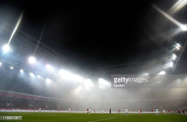 During the Russian Premier League match between FC Spartak Moscow and PFC CSKA Moscow at the Otkritie Arena Stadium on April 06, 2019 in Moscow,...