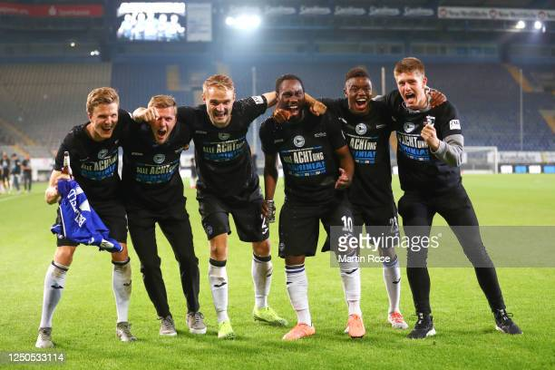During the Second Bundesliga match between DSC Arminia Bielefeld and SV Darmstadt 98 at Schueco Arena on June 18, 2020 in Bielefeld, Germany.