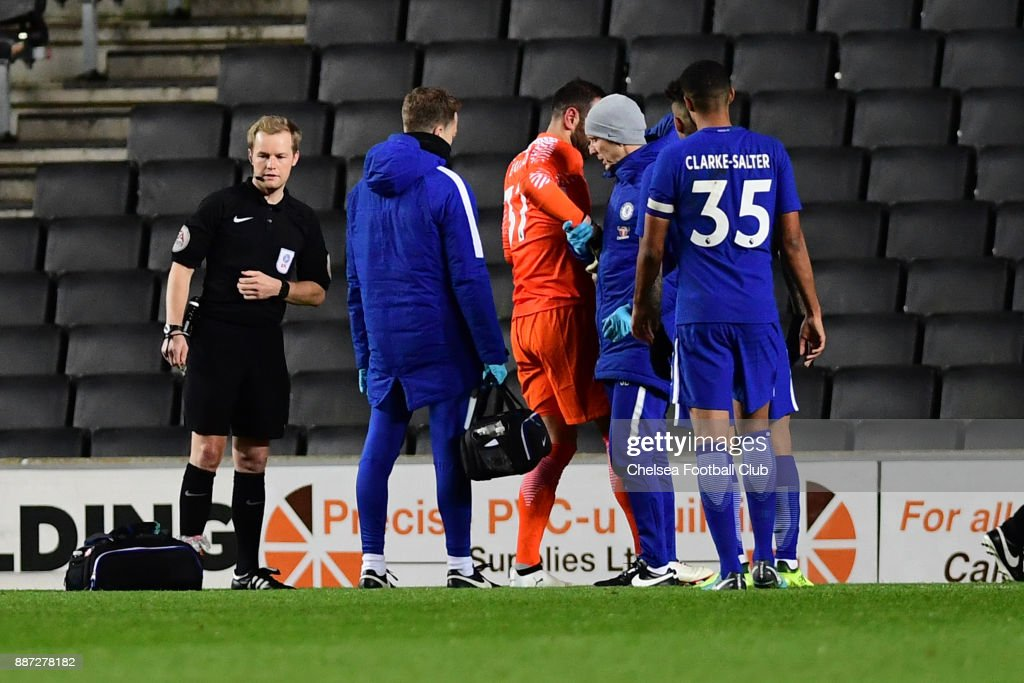 during the Second Round Checkatrade Trophy Match between MK Dons and Chelsea FC at StadiumMK on December 6, 2017 in Milton Keynes, England.