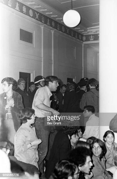 During the second takeover of Columbia University Students for a Democratic Society leader Mark Rudd and others occupy the university's Hamilton Hall...