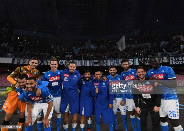 during the Serie A match between SSC Napoli and Frosinone Calcio at Stadio San Paolo on December 8 2018 in Naples Italy