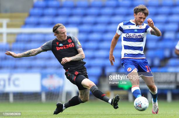 During the Sky Bet Championship match between Reading and Stoke City at Madejski Stadium on June 20, 2020 in Reading, England.