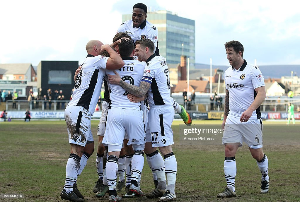 during the Sky Bet League Two match between Newport County and Hartlepool United at Rodney Parade on January 28, 2017 in Newport, Wales.
