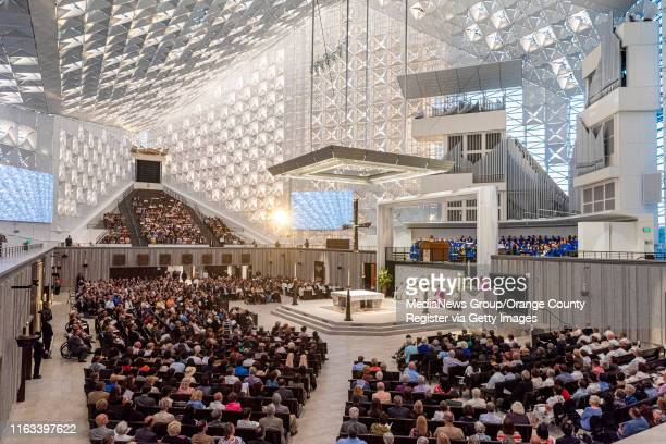 During the Solemn Evening of Prayer in Thanksgiving ceremony at Christ Cathedral with spiritual leaders, public officials and local dignitaries from...
