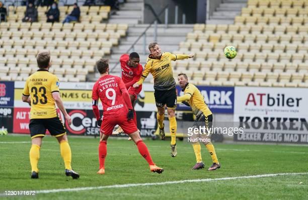 !! during the Superliga match between AC Horsens versus Aarhus GF at Casa Arena Horsens , Horsens, Denmark on December 13, 2020.