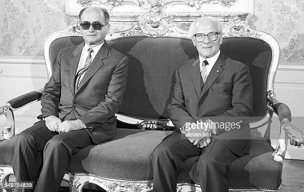 during the talks in EastBerlin Erich Honecker General Secretary of the Socialist Unity Party of the GDR Wojciech Jaruzelskie Head of State of Poland