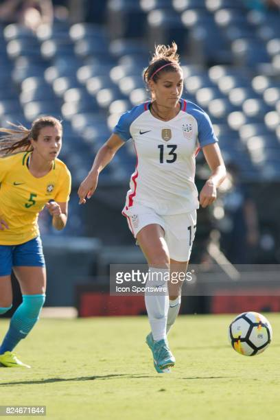 during the Tournament of Nations soccer match between USA and Brazil on July 30 2017 at Qualcomm Stadium in San Diego CA