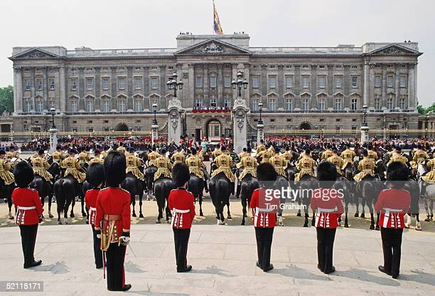 During The Trooping The Colour Ceremony The Queen Takes A Final Salute From Her Troops In Front Of Buckingham Palacecirca 1990s