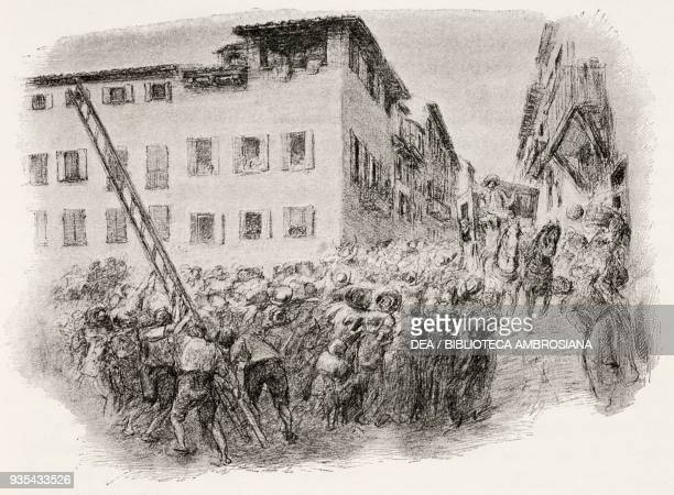 During the tumult of St Martin in 1629 the crowd attacking the vicar's house in Provvisione using a ladder while Ferrer's carriage approaches,...