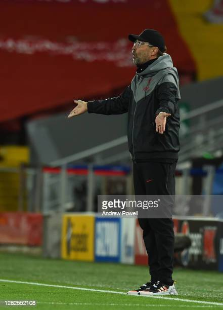 during the UEFA Champions League Group D stage match between Liverpool FC and FC Midtjylland at Anfield on October 27 2020 in Liverpool England...