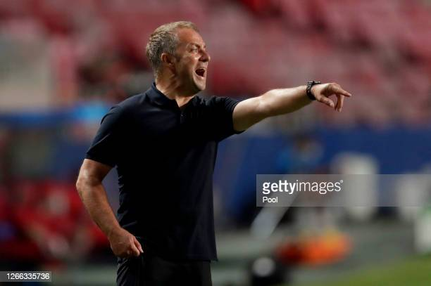 During the UEFA Champions League Quarter Final match between Barcelona and Bayern Munich at Estadio do Sport Lisboa e Benfica on August 14, 2020 in...
